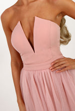 Babydoll Pink Tulle Strapless Dress