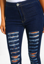 Indigo Distressed High Waist Skinny Jeans - Close Up View