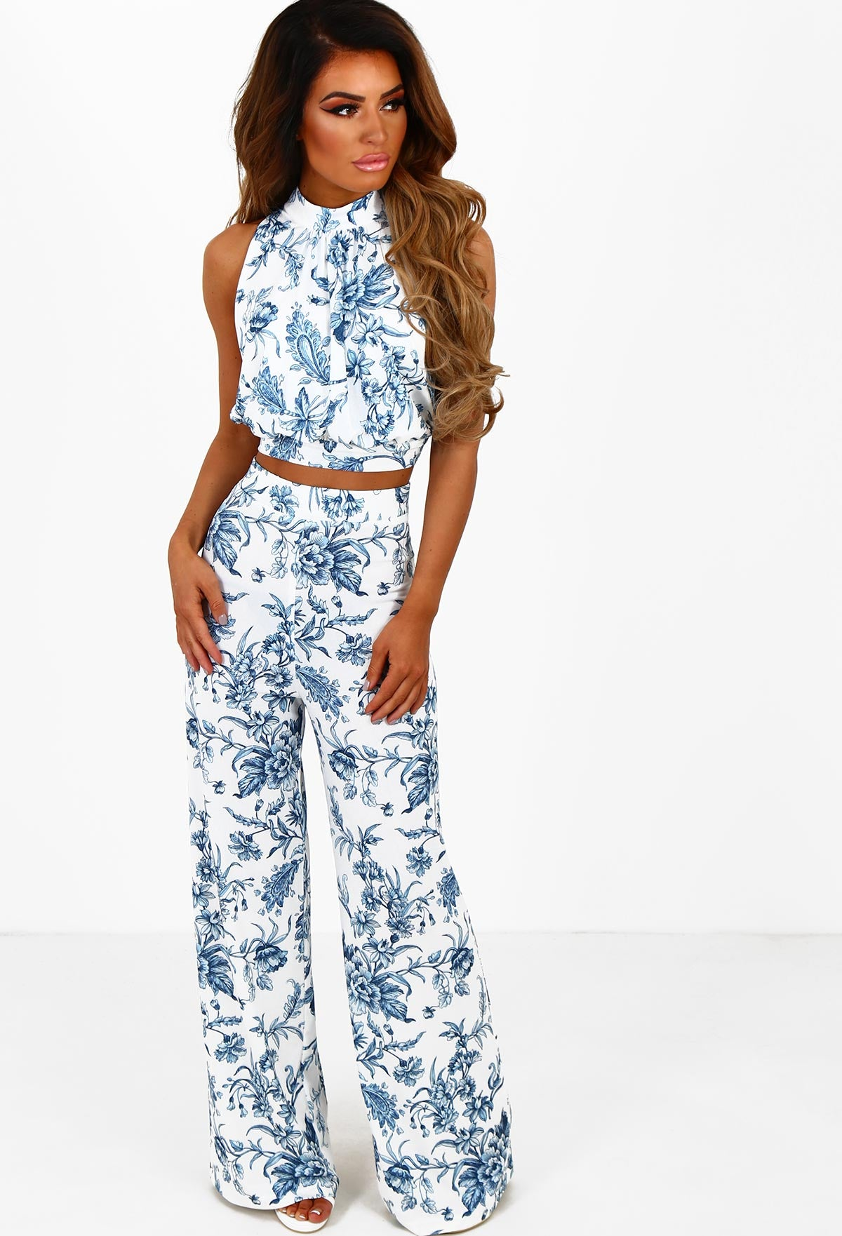 692d62cee2 Coconut Cove White and Blue Floral Wide Leg Trousers – Pink Boutique UK