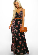 Black Floral Maxi Dress - Front with Accessory