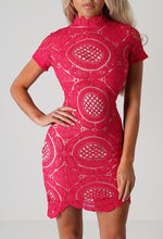 Balanci Hot Pink Crochet Mini Dress