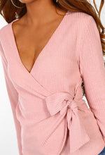 Ballet Away Pink Wrap Over Tie Front Ribbed Jumper
