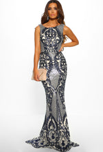 Navy Sequin Floor Length Dress