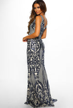 Nude and Navy Sequin Maxi Dress