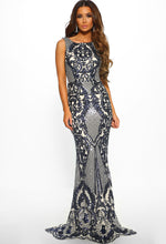 Navy Sequin Evening Dress