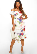 Ivory Floral Bardot Bodycon Midi Dress - Front with Accessory