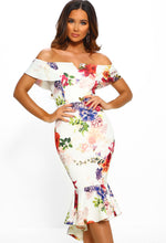 Ivory Floral Bardot Bodycon Midi Dress - Front