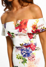 Ivory Floral Bardot Bodycon Midi Dress - Detail