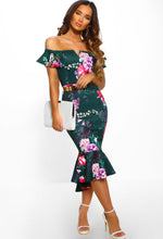 Green Floral Bardot Bodycon Midi Dress