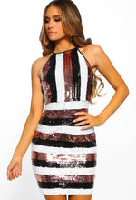 Stripe Sequin Mini Dress