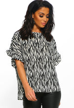 Multi Zebra Print Short Sleeve Top - Front View