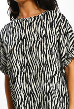 Multi Zebra Print Short Sleeve Top - Close Up View