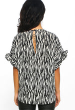 Multi Zebra Print Short Sleeve Top - Back View