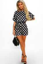 Be My Babe Black Polka Dot Belted Playsuit