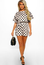 Be My Babe Nude Polka Dot Belted Playsuit
