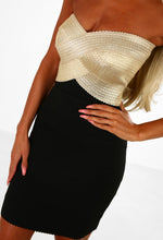 Be My Distraction Black and Gold Bandage Strapless Mini Dress