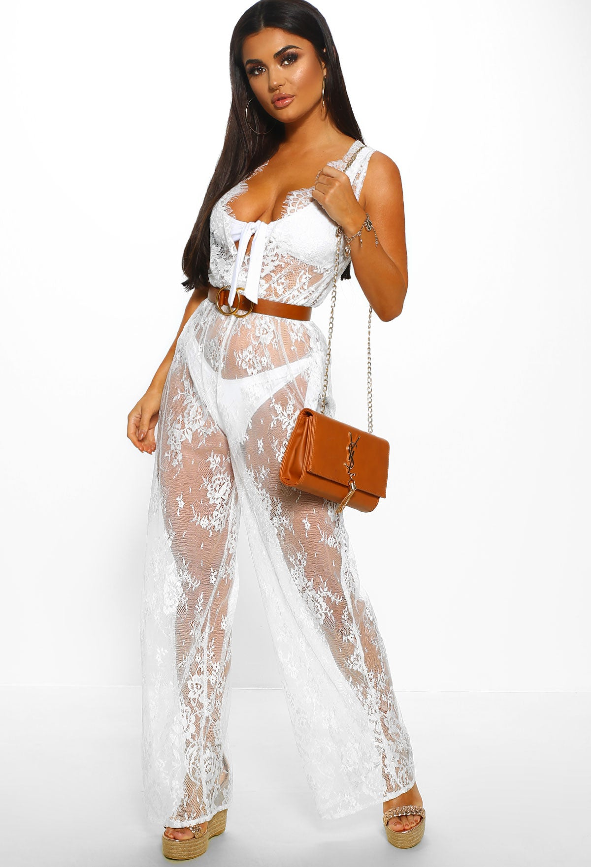 adfedfc87526d Beach Club White Sheer Lace Wide Leg Jumpsuit Cover Up – Pink ...
