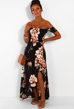 Beach Glam Black Multi Floral Bardot Wrap Maxi Dress
