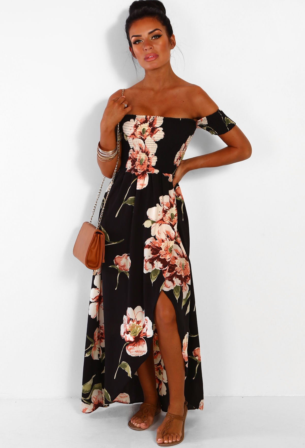 7df7fa653ff4d Beach Glam Black Multi Floral Bardot Wrap Maxi Dress – Pink Boutique UK