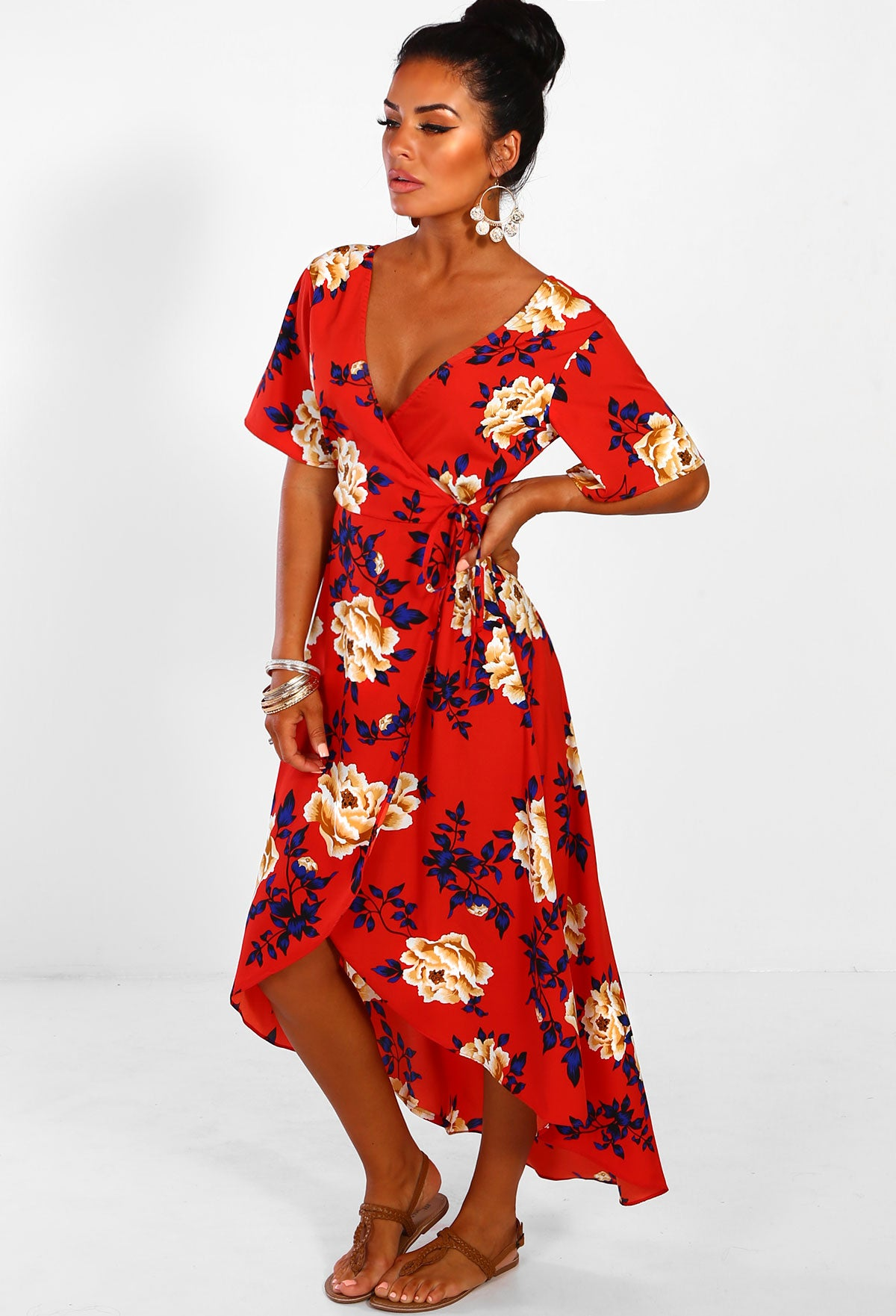 f91a46c36eef0 Beach Walks Red Floral Wrap Maxi Dress – Pink Boutique UK