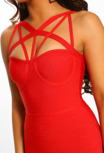 Red Cage Bandage Midi Dress - Detail