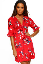 Red Floral Tie Front Mini Dress - Front