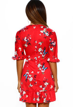 Red Floral Tie Front Mini Dress - Back