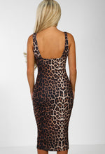 Leopard Print Split Bodycon Midi Dress - Back
