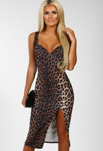 Leopard Print Split Bodycon Midi Dress - Front with Accessory