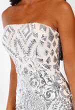 Silver Sequin Strapless Midi Dress - Detail