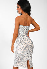 Beautiful Illusion Silver Sequin Strapless Midi Dress