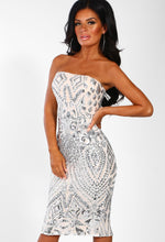 Silver Sequin Strapless Midi Dress - Front Angled