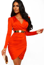 Orange Long Sleeve Ruched Mini Dress - Front with Accessory