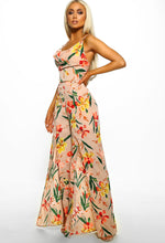 Nude Floral Wide Leg Jumpsuit - Side