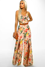 Nude Floral Wide Leg Jumpsuit - Front with Accessory