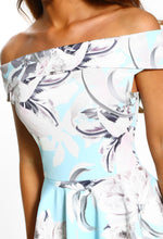 Blue Floral Print Bardot Midi Dress - Detail