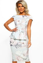Grey Floral Print Bardot Midi Dress - Front