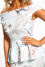 Grey Floral Print Bardot Midi Dress - Detail