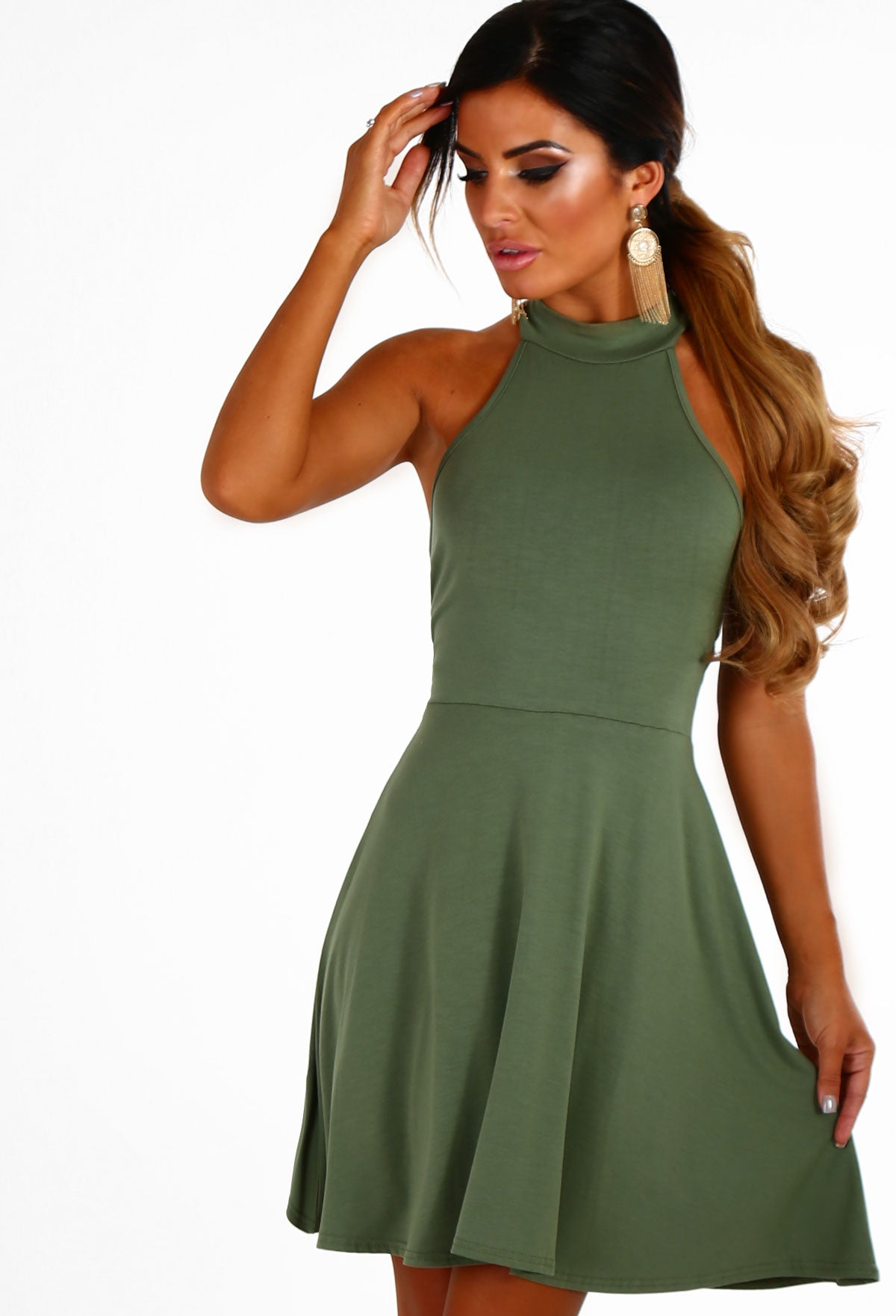 01dc0204c5ab Beauty Lockdown Khaki Jersey Swing Dress – Pink Boutique UK