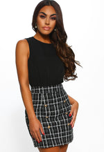 Beauty Pageant Black Checked Boucle Button Front Mini Dress