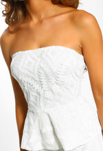 Beauty Queen White Sequin Strapless Peplum Top