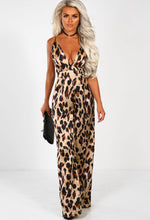 Leopard Print Wide Leg Jumpsuit - Front with Accessory
