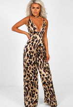 Beauty Remains Nude Leopard Print Wide Leg Jumpsuit