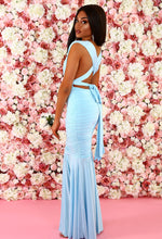 Belle Beauty Sky Blue Multiway Fishtail Maxi Dress