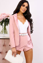 Prep & Pose Rose Pink Satin Detail Belted Blazer