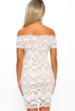 Best Night Out White Crochet Bardot Mini Dress