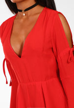 Better Than Magic Red Split Flared Sleeve Playsuit