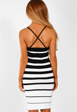 Monochrome Striped Knitted Bodycon Mini Dress - Back