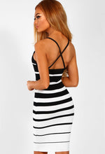 Monochrome Striped Knitted Bodycon Mini Dress - Back Angled