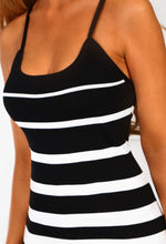 Monochrome Striped Knitted Bodycon Mini Dress - Detail